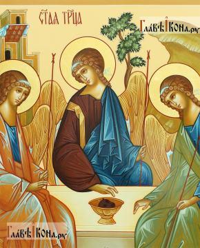 Писаная икона Троица, копия иконы Андрея Рублева, артикул 907 - детали