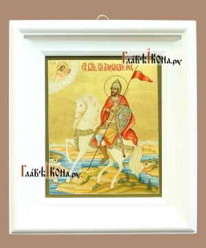 Святой Александр Невский, полководец, икона артикул 503 - вид в киоте