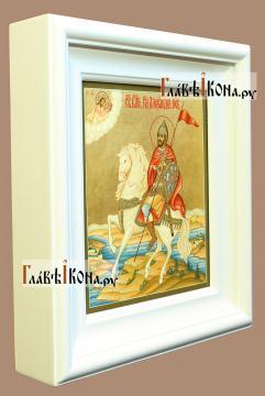 Святой Александр Невский, полководец, икона артикул 503 - вид в киоте сбоку