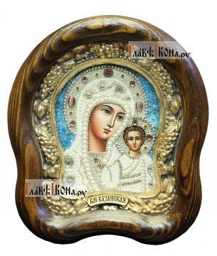 Казанская икона из бисера, размер 14,5х17 см