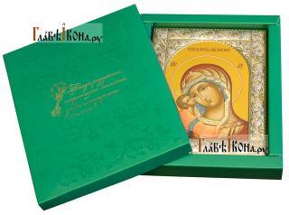 Игоревская Божия Матерь, икона в ризе с классическим рисунком - вид с упаковкой