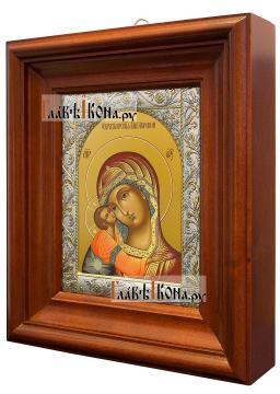 Игоревская Божия Матерь, икона в ризе с классическим рисунком - вид в киоте сбоку