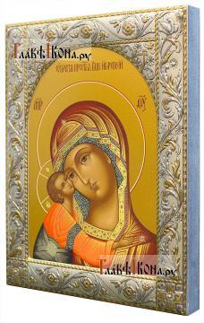 Игоревская Божия Матерь, икона в ризе с классическим рисунком - вид сбоку