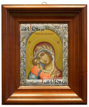 Игоревская Божия Матерь, икона в ризе с классическим рисунком - вид в киоте