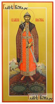 Игорь благоверный (ростовой), икона печатная на дереве