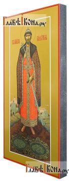 Игорь благоверный (ростовой), икона печатная - вид сбоку