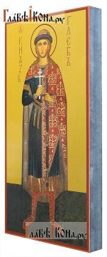 Глеб страстотерпец (ростовой), икона печатная на доске - вид сбоку