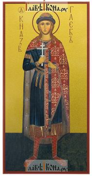 Глеб страстотерпец (ростовой), икона печатная на доске