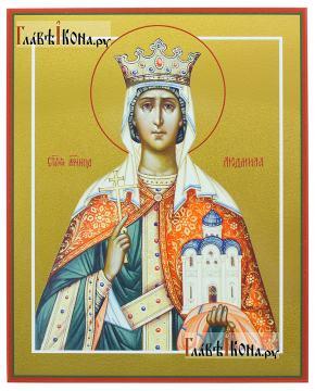 Людмила Чешская, икона на дереве печатная