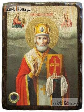 Николай Чудотворец (живописный стиль, с предстоящими), икона со старением
