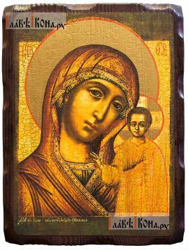 Казанская Божия Матерь (18-й век), икона с искусственным старением