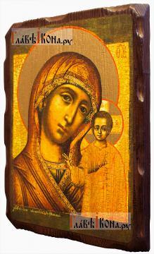 Казанская Божия Матерь (18-й век), икона с искусственным старением - вид сбоку