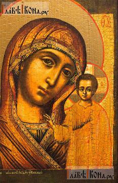 Казанская Божия Матерь (18-й век), икона с искусственным старением - детали
