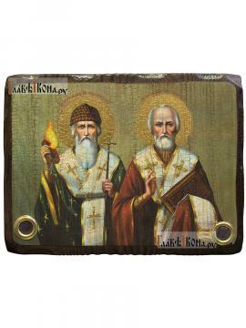 Спиридон и Николай, икона состаренная с мощевиками