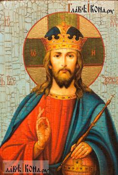 Спаситель (Царь Небесный), состаренная икона - детали