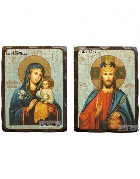 Венчальная пара икон под старину, арзмер 18х24 см