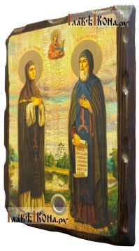Петр и Феврония, икона с искусственным старением, 18х24 см - вид сбоку