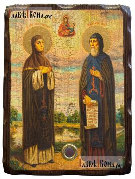 Петр и Феврония, икона с искусственным старением, 18х24 см