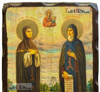 Петр и Феврония, икона с искусственным старением, 18х24 см - детали