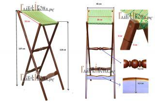 СХЕМА: аналой деревянный складной с тканью, артикул 10302