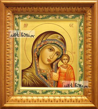 Казанская Божия Матерь, рукописная икона, артикул 5348 - вид в киоте