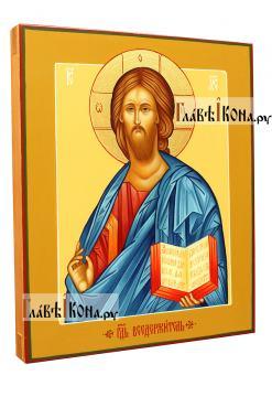 Писаная икона Господа в византийском стиле - вид сбоку