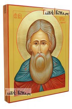 Сергий Радонежский (опечное изображение), писаная икона - вид сбоку