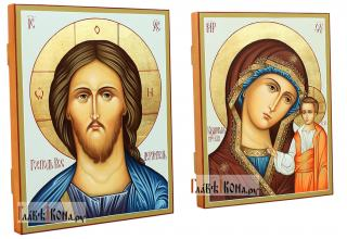 Венчальная пара рукописных икон (старинный стиль) - вид сбоку