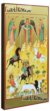 Чудо о Флоре и Лавре, икона печатная на доске, размер 127х247 мм