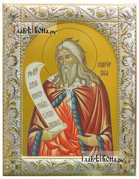 Илия Пророк (поясной), икона в ризе с классическим рисунком