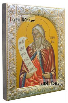 Илия Пророк (поясной), икона в ризе с классическим рисунком - вид сбоку