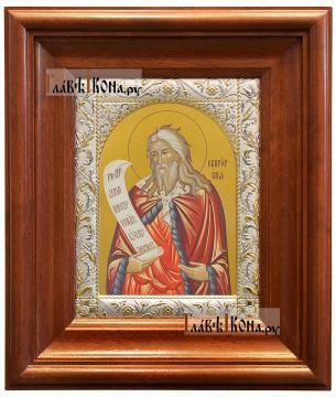 Илия Пророк (поясной), икона в ризе с классическим рисунком - вид в киоте