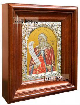 Илия Пророк (поясной), икона в ризе с классическим рисунком - вид в киоте сбоку