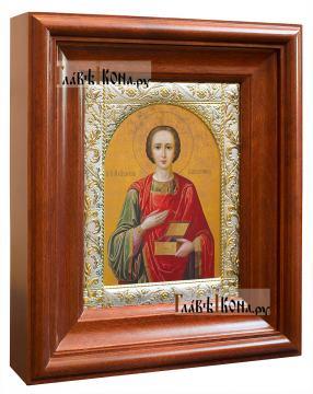 Великомученик Пантелеимон, икона в ризе с классическим рисунком - вид в киоте сбоку