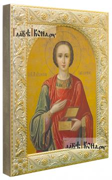 Великомученик Пантелеимон, икона в ризе с классическим рисунком - вид сбоку