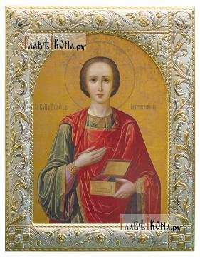Великомученик Пантелеимон, икона в ризе с классическим рисунком