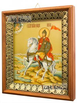 Александр Невский, князь - икона на холсте в киоте-рамке (вид сбоку)