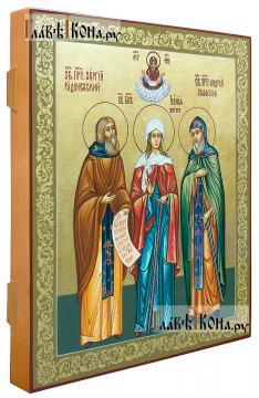 Семейная икона с тремя святыми: Сергий, Ксения, Андрей (вид сбоку)