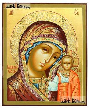 Божия Матерь Казанская, писаная икона с золочением и узорами на нимбе