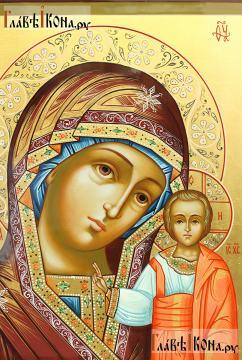 Божия Матерь Казанская, писаная икона, артикул 270 (детали образа)