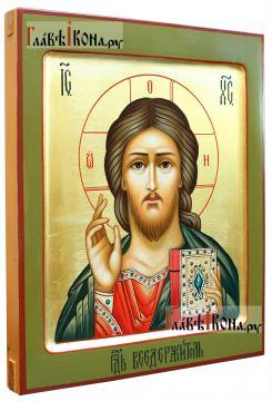 Господь, рукописная икона с золочением и ковчегом, артикул 606 (вид сбоку)