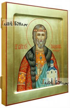 Владислав Сербский, писаная икона артикул 525 (вид сбоку)