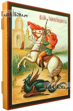 Великомученик Георгий, икона писаная темперой в живописном стиле (вид сбоку)