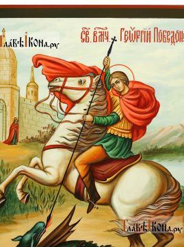 Великомученик Георгий, икона писаная темперой в живописном стиле (детали образа)