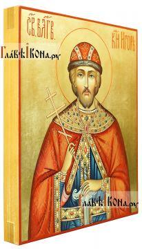 Благоверный князь Игорь Черниговский, икона писаная на доске (вид сбоку)