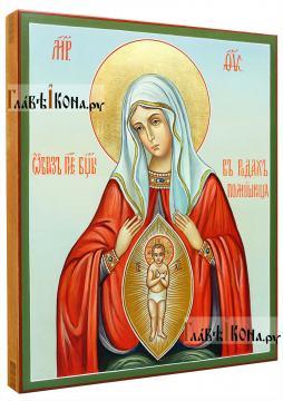 Помощница в родах, рукописная икона артикул 5293 (вид сбоку)