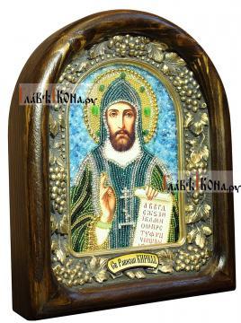 Кирилл Равноапостольный, дивеевская икона бисером (в рамке) - вид сбоку