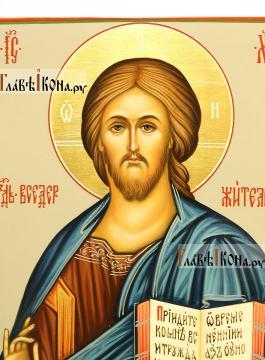 Икона Господа с поясным изображением, артикул 608 (детали образа)