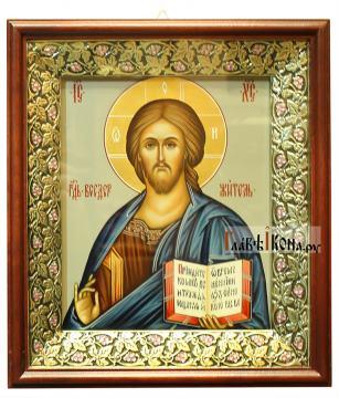 Икона Господа с поясным изображением, артикул 608 - вариант оформления в киот