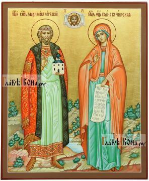 Семейная икона с двумя святыми покровителями:  Владиславом и Галиной